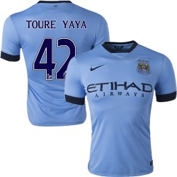 Men's 42 Yaya Toure Manchester City FC Jersey - 14/15 Spain Football Club Nike Authentic Sky Blue Home Soccer Short Shirt
