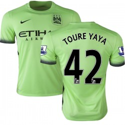 Men's 42 Yaya Toure Manchester City FC Jersey - 15/16 Premier League Club Nike Authentic Light Green Third Soccer Short Shirt