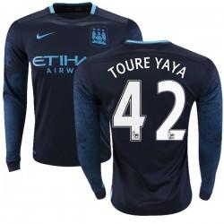 Men's 42 Yaya Toure Manchester City FC Jersey - 15/16 Premier League Club Nike Authentic Navy Away Soccer Long Sleeve Shirt