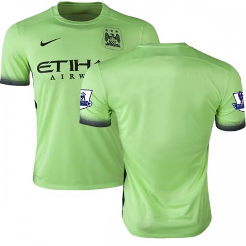 size 40 b44fc 12c88 Men's Blank Manchester City FC Jersey - 15/16 Premier League Club Nike  Replica Light Green Third Soccer Short Shirt
