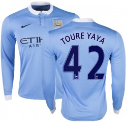 Men's 42 Yaya Toure Manchester City FC Jersey - 15/16 Premier League Club Nike Replica Sky Blue Home Soccer Long Sleeve Shirt