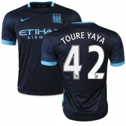 Men's 42 Yaya Toure Manchester City FC Jersey - 15/16 Spain Football Club Nike Authentic Navy Away Soccer Short Shirt