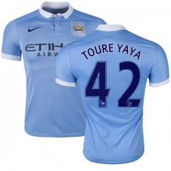 Men's 42 Yaya Toure Manchester City FC Jersey - 15/16 Spain Football Club Nike Authentic Sky Blue Home Soccer Short Shirt