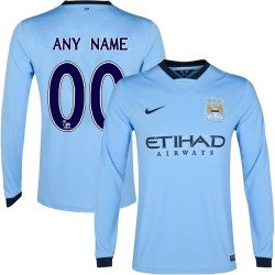 Men's Customized Manchester City FC Jersey - 14/15 Spain Football Club Nike Authentic Sky Blue Home Soccer Long Sleeve Shirt