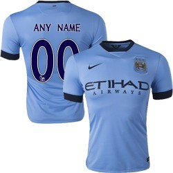 Men's Customized Manchester City FC Jersey - 14/15 Spain Football Club Nike Authentic Sky Blue Home Soccer Short Shirt