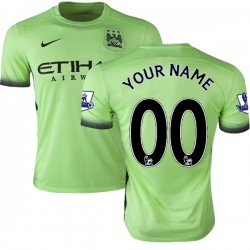 Men's Customized Manchester City FC Jersey - 15/16 Premier League Club Nike Authentic Light Green Third Soccer Short Shirt
