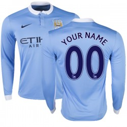 Men's Customized Manchester City FC Jersey - 15/16 Premier League Club Nike Authentic Sky Blue Home Soccer Long Sleeve Shirt