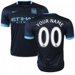 Men's Customized Manchester City FC Jersey - 15/16 Spain Football Club Nike Authentic Navy Away Soccer Short Shirt