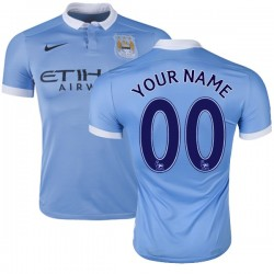 Men's Customized Manchester City FC Jersey - 15/16 Spain Football Club Nike Authentic Sky Blue Home Soccer Short Shirt