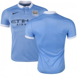 Men's Blank Manchester City FC Jersey - 15/16 Spain Football Club Nike Authentic Sky Blue Home Soccer Short Shirt