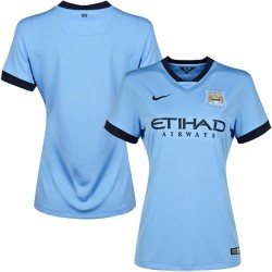 Women's Blank Manchester City FC Jersey - 14/15 Spain Football Club Nike Authentic Sky Blue Home Soccer Short Shirt